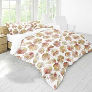 Watercolor Floral Pattern P639 in Red on Bedding
