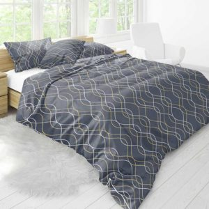 Skipped Ogee Pattern P721 in Blue on Bedding