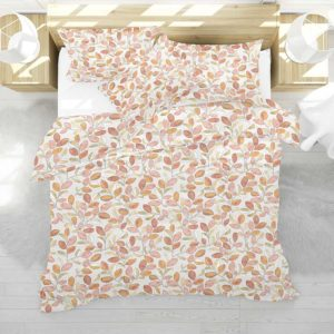 Cherry Plum Leaves Pattern P636 in Pink on Bedding