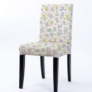 Watercolor Tossed Leaves Pattern P638 in Blue Upholstered on Chair
