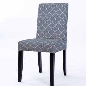 Quatrefoil Overlay Pattern P699 in Blue Upholstered on Chair