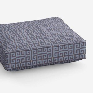 Greek Key Pattern P716 in Blue Upholstered on Cushion