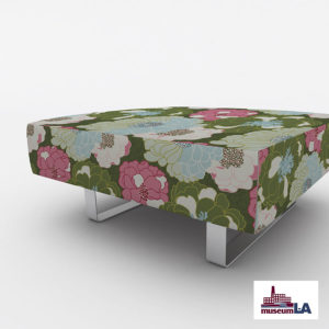 Poppy for Museum L-A Pattern P1675 in Green Upholstered on Office Ottoman