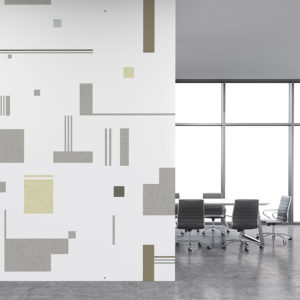 Floating Squares Pattern P690 in Gray on Wallcoverings