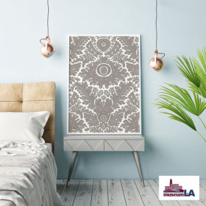 Pin Point for Museum L-A Pattern P1676 in Gray as Bedroom Artwork