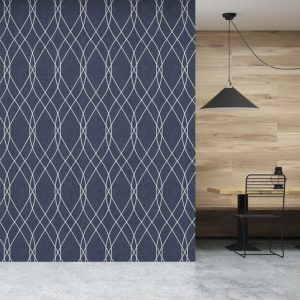 Lattice Ogee Pattern P718 in Blue on Wallpaper