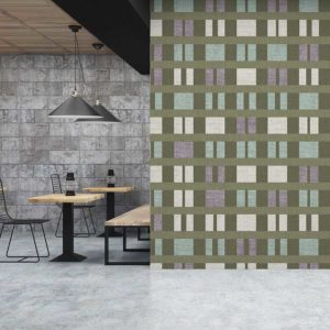 Clerestory Mid Century Modern Pattern P795 in Green on Wallpaper for Home or Restaurant