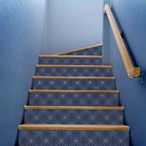 Lattice Dot Pattern P706 in Blue on Stairs