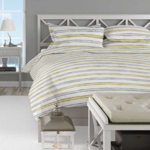 Painted Stripes Pattern P936 in Green on Bedding
