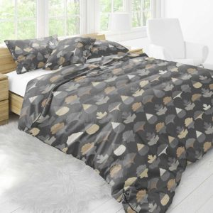 Frond Pattern P914 in Black on Bedding