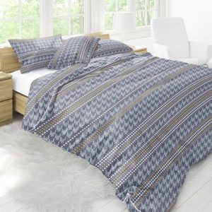Houndstooth Stripe Pattern P922 in Blue on Bedding