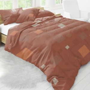 Block Party Pattern P955 in Orange on Bedding