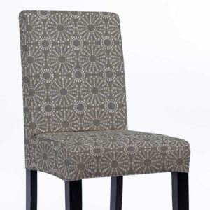 Ikat Circle Dots Pattern P1567 in Gray Chair Side