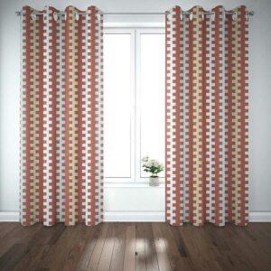Navajo Stripe Pattern P969 in Orange Window Curtains