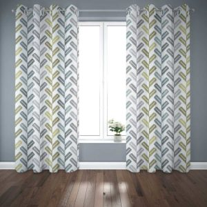 Sante Fe Feather Pattern P974 in Aqua Curtains