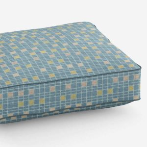Mini Check Pattern P1545 in Aqua Cushion