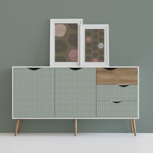 Basket Weave Pattern P1048 in Aqua Dresser