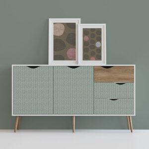 Basket Weave Pattern P1048 in Aqua Dresser