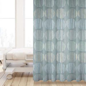 Batik Circle Pattern P1007 in Aqua Privacy Curtain
