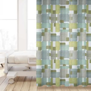 Woven Rectangle Overlay Pattern P811 in Green on Privacy Curtain