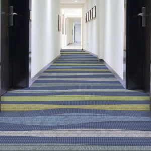 Amazing Stripe Pattern P1020 in Blue Hotel Hallway Carpet