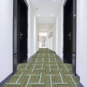 Overlapping Plaid Pattern P958 in Green on Hallway Carpet