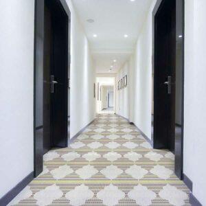 Mini Mosaic Ogee Pattern P985 in Purple Hotel Hallway Carpet