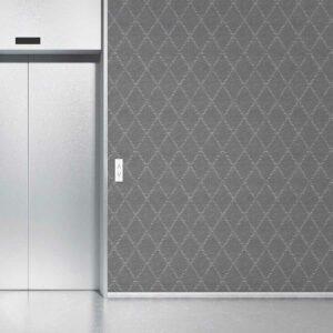Striped Diamond Pattern P804b in Gray on Wallpaper