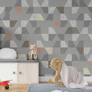 Stacked Trapezoids Pattern P1559 in Gray Kids Room Wallpaper