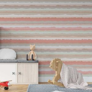 Sierra Nevada Stripe Pattern P813 in Pink on Wallpaper