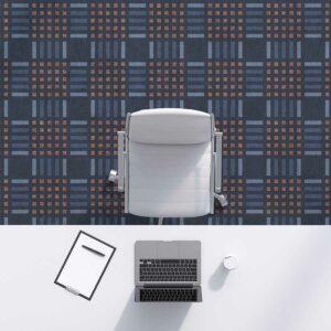 Modern Plaid Pattern P1638 in Blue Office Carpet
