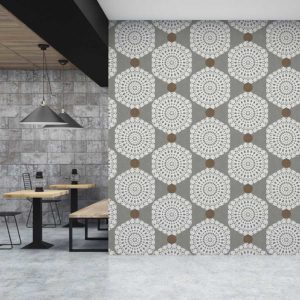 Lace Hexagon Pattern P1564 in Gray Restaurant Wallpaper