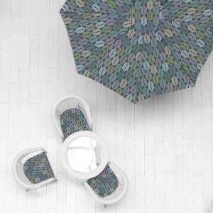 Pixel Diamond Pattern P986 in Aqua Umbrella and Chairs