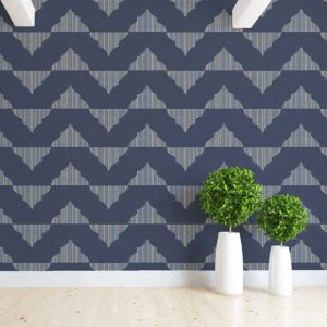 Split Ogee Pattern P984 in Blue Wallpaper