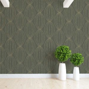 Stipple Oval Pattern P994 in Green on Wallpaper for Home