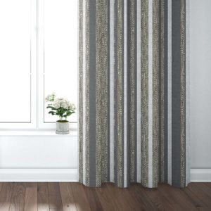 Barcode Stripe Pattern P1099 in Brown Curtains