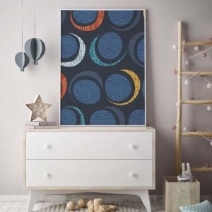 Over the Moon Pattern P1009 in Blue Kids Room Picture Dresser