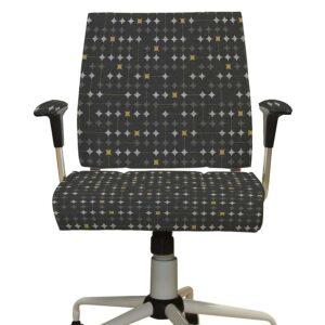 Retro Starburst Pattern P759 in Black Office Upholstery Chair