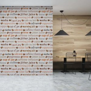 Coffee To Go Pattern P1026 in Gray Restaurant Wallpaper