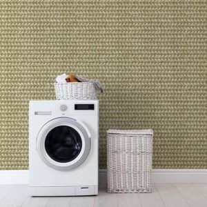 Basket Weave Pattern P1125 in Yellow Laundy Wall