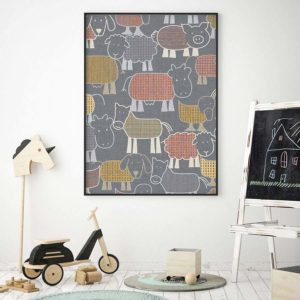 Animal Farm Pattern P1594 in Gray on Picture for Kids Room